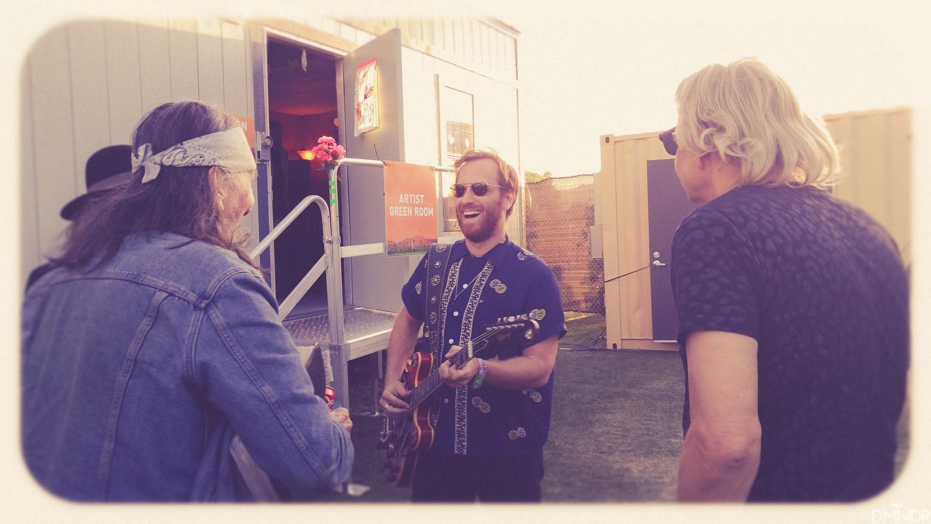 Dan,Joe Walsh, Glenn Schwartz bonding before hopping on Mojave stage