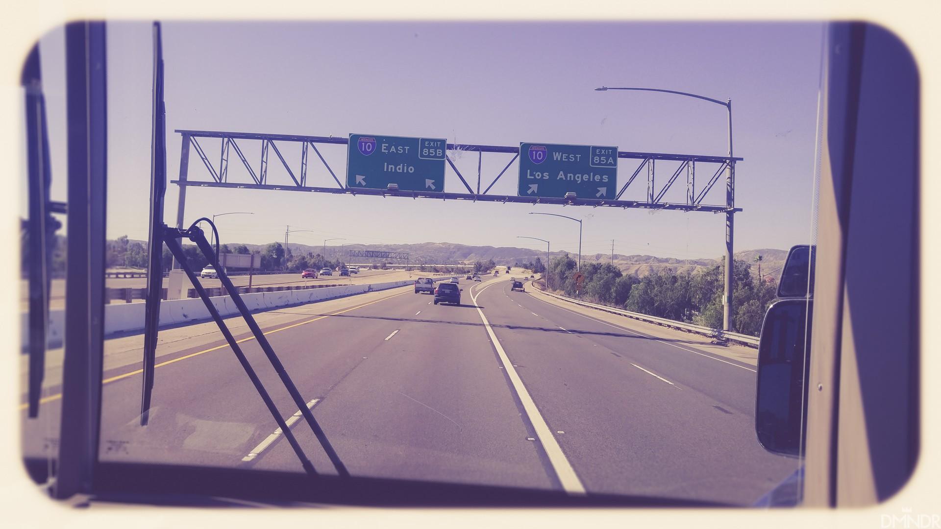 En route on the tour bus
