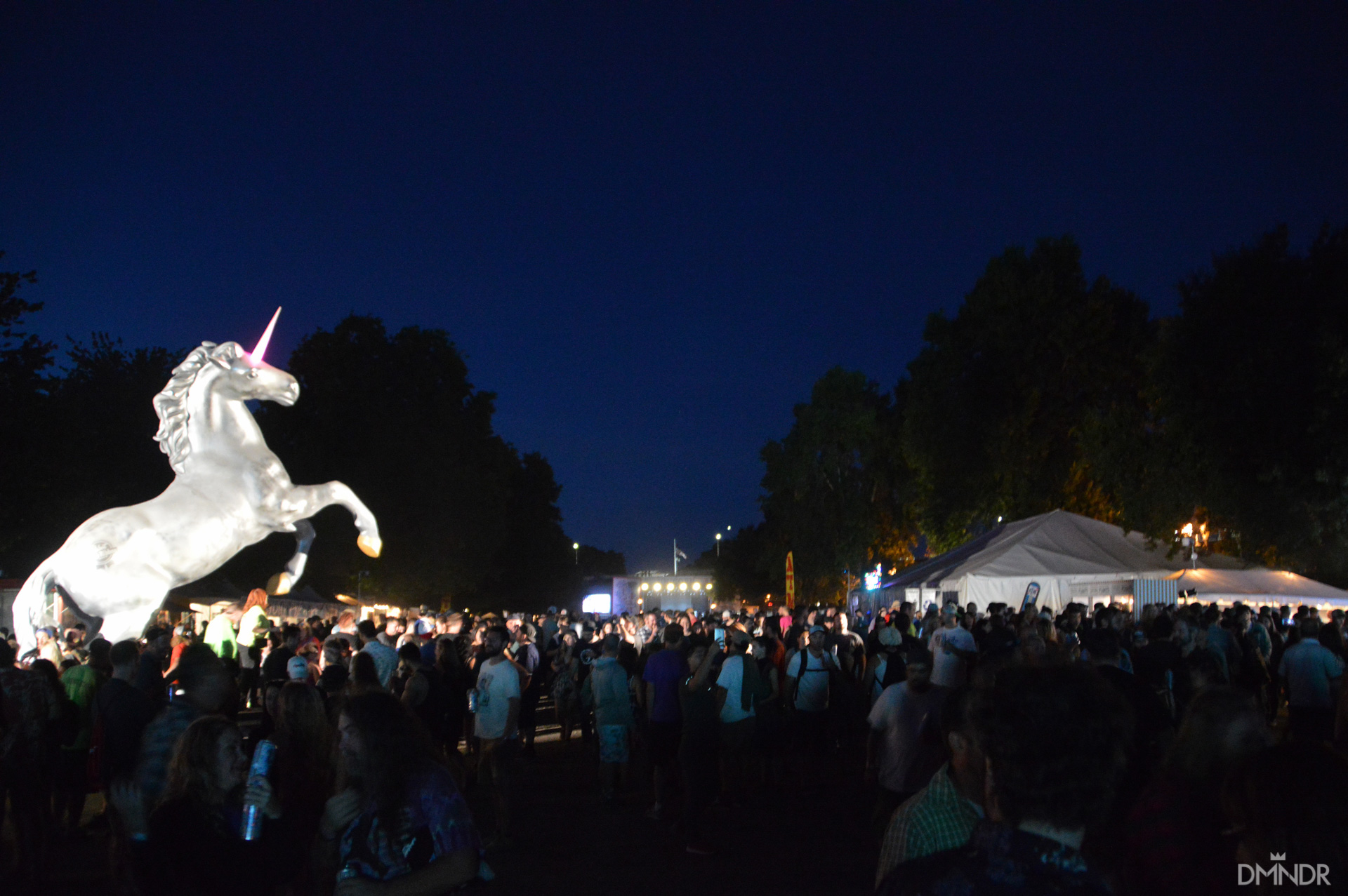 Pabst Unicorn and festival crowd nightshot