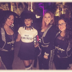 The girls with Janelle Monae after her guest appearance with Unknown Mortal Orchestra