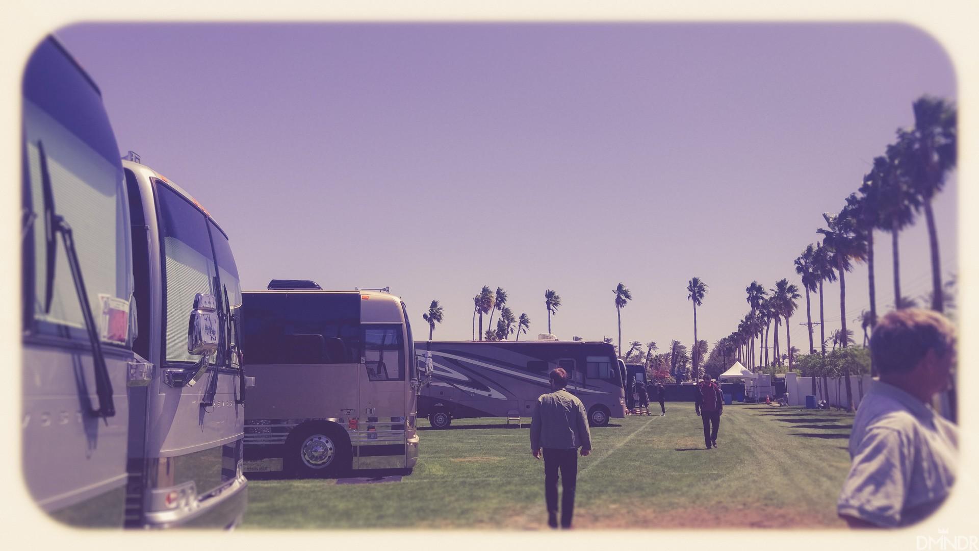 Tour bus parking lot at Coachella